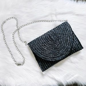 Handbags - Black Straw Clutch/ Handbag